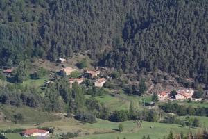 le hameau de Condas. La grande maison est au centre avec la vingne sur le mur et la petite est juste à l'arrière sous la pinède.